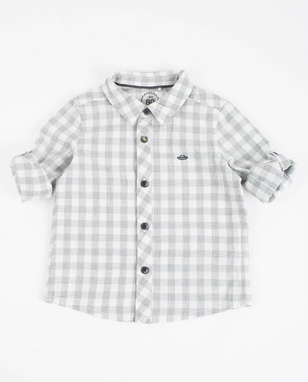Grau-weißes Karo-Hemd  - mit Ärmeln zum Hochkrempeln - JBC